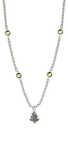 Antiqued Christmas Tree - Lime Green Crystal Fiona Necklace