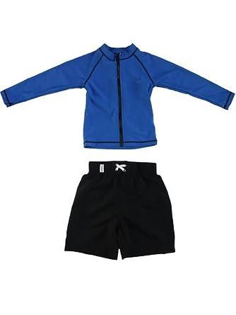 Shark Bite - UV Sun Protective Rash Guard Swimsuit Set by SwimZip Swimwear, Blue, Size 5
