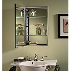 NuTone S468244SS Studio IV Series Recessed Beveled Mirror Medicine Cabinet, White