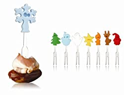 Vacu Vin Christmas Crowd Snack Markers with Metal Fork Tips, Set of 8