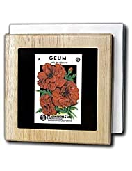 BLN Vintage Seed Packet Reproductions - Geum Mrs Bradshaw Red Flowers F. Lagomarsino and Sons - Tile Napkin Holders - 6 inch tile napkin... by 3dRose