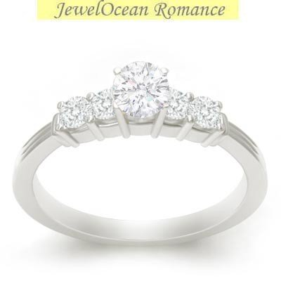 0.58 Carat Engagement Ring on Sale with Round cut Diamond on 18K White gold
