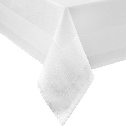DAMAST Tischdecke ECKIG 100x100 100 x 100 cm bei 95°C waschbar Weiss Atlaskante 100% Baumwolle Tischwäsche Tablecloths von DecoHometextil