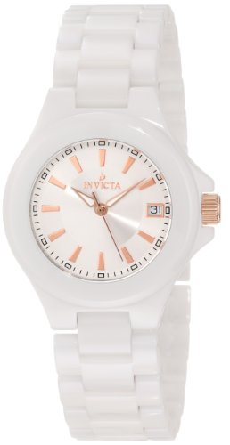 Invicta Women's Quartz Watch with Multicolour Dial Analogue Display and Black Silicone Strap 10446