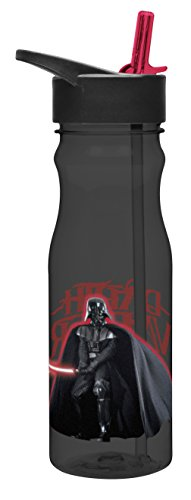 Zak! Designs Tritan Water Bottle with Flip-Up Spout and Straw featuring Darth Vader, Break-resistant and BPA-free plastic, 25 oz.