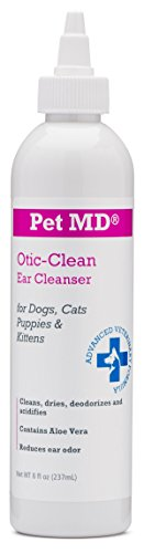 Pet MD Otic Clean Dog Ear Cleaner for Cats and Dogs - Effective Against Infections Caused by Mites, Yeast, Itching and Controls Odor - 8 oz (Cat Ear Cleaner compare prices)
