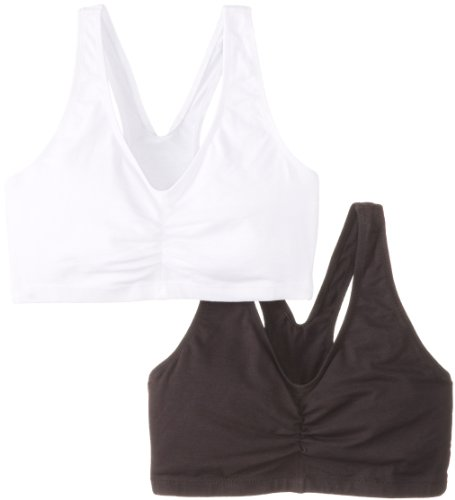 Hanes Women's 2 Pack Cotton Pullover Bra, Black/White, X-Large(Colors may vary)