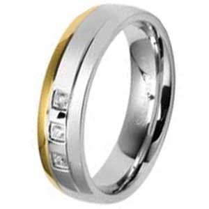 6MM High Polished Stainless Steel Ring With a Gold Plated Edge and Three small Cubic Zirconias in Center