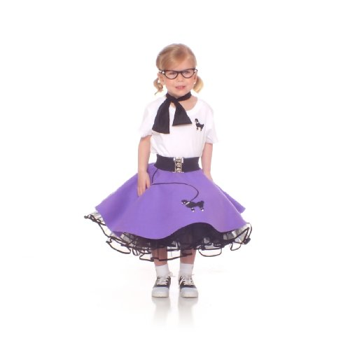 Hip Hop 50S Shop 7 Piece Toddler Poodle Skirt Outfit - 3T Purple