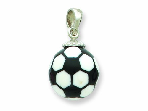 Sterling Silver Resin Large Soccerball Pendant - Chain Included LIFETIME WARRANTY