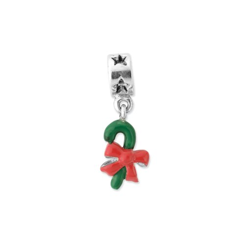 Silver Green Enameled Candy Cane Dangle Charm for 3mm Charm Bracelets