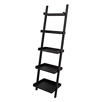 Kiera Grace Hadfield 5-Tier Leaning Wall Shelf - 18 by 67-Inch, Black