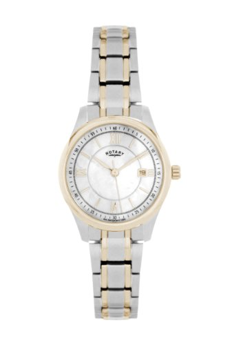Rotary Ladies Analogue Watch LB42836/06 with Silver Roman Dial and Two Tone Bracelet