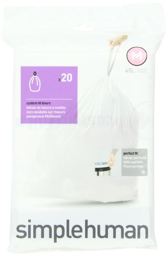 simplehuman Trash Can Liner M, 45 Liters/12 Gallons, 20-Count Bags (Pack of 2) (Pack of 2) (Simplehuman Trash Can Liner M compare prices)