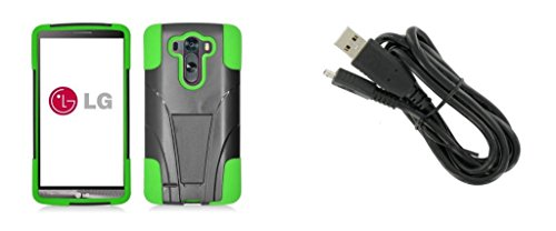 Lg G3 Vigor - Black & Neon Green Dual Layer Impact Defender Shockproof Armor Kickstand Cover Case + Atom Led Keychain Light + Micro Usb Cable