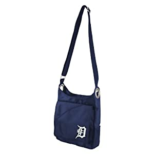 MLB Detroit Tigers Ladies Color Sheen Cross Body Purse, Navy by Littlearth