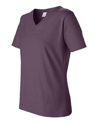 L.A.T Sportswear 3587 Ladies' V-neck T-Shirt (Eggplant, Small)