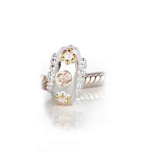 Bling Jewelry Gold & 925 Sterling Silver Crystal Bead Compatible with Pandora Bead Bracelet