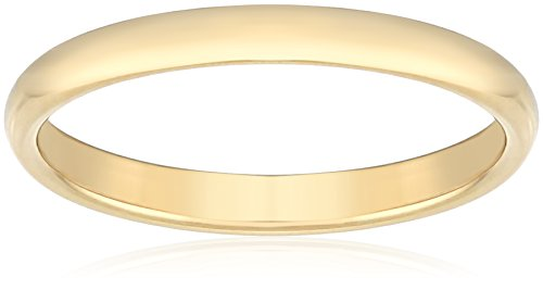 Women's 18k Yellow Gold 2mm Traditional Plain Wedding Band, Size 8