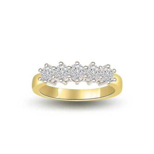 0.60 carat Diamond Half Eternity Ring for Women. H/SI1 Round Brilliant Diamonds in 6 Claw Setting in 18ct Yellow & White Gold
