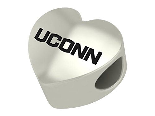 Connecticut Huskies UCONN Sterling Silver Heart Bead Fits Most European Style Charm Bracelets