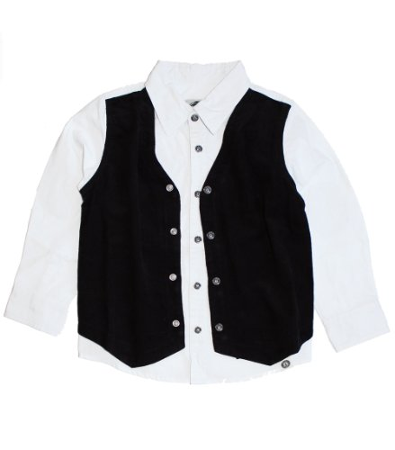 Mini Shatsu, Classic Black Vest Buttoned Shirt (C) ~ 12 front-283179