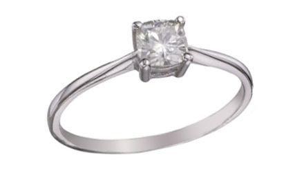 Moissanite 18ct White Gold 0.50 Carat Cushion Cut Ring - Zoe Kay Jewellery