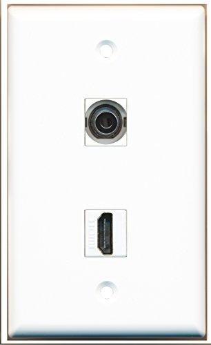 Riteav - 1 3.5Mm Audio / Headphone Jack And 1 Hdmi Port Wall Plate White