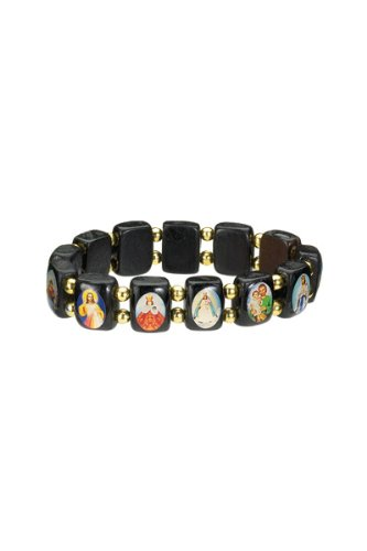 Saints Bracelet - Black Wood - Small Squares with Gold Color Beads Spacers - Made in Brazil