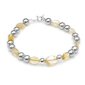 Wonderful Brand New Bracelet With Citrines and Faux pearls in 925 Sterling silver