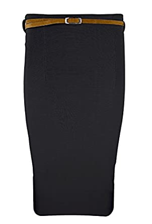 Ladies Long Belted Bodycon Office Pencil Skirt, UK 10, Black