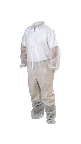 High Five AC233 Spunbond Polypropylene Coverall with Elastic Wrists and Ankles, Large, White (Case of 25) high five