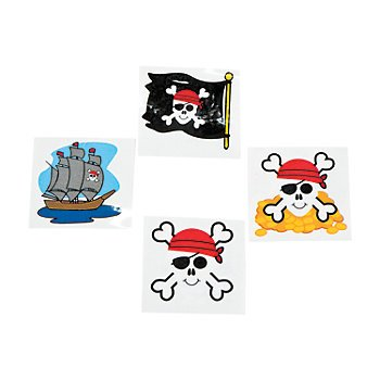 216 PIRATE Tattoos (18 Dozen)/Party FAVORS/TREASURE/Booty/EYE Patch/SKULL Crossbones/TEACHER Prizes - 1
