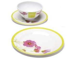 Pink Cosmos 12-Piece Melamine Tableware Set