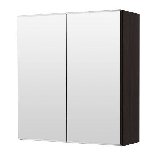 IKEA-LILLANGEN-Spiegelschrank-mit-2-Tren-schwarz-braun-60x21x64-cm