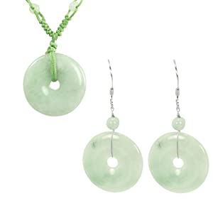 Jadeite Jade Harmony Circlet Jade Coin (Bi) Green Cord Necklace and Earrings Set