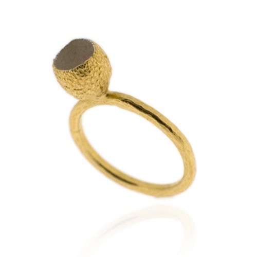 Ana Verdun Jewellery Eucalyptus Cup Ring, Gold-Plated Size: P