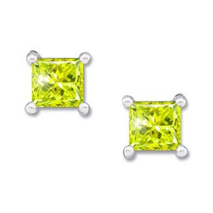Princess Cut 18K White Gold Stud Earrings with Greenish-Yellow Diamond 2 carats each Princess cut