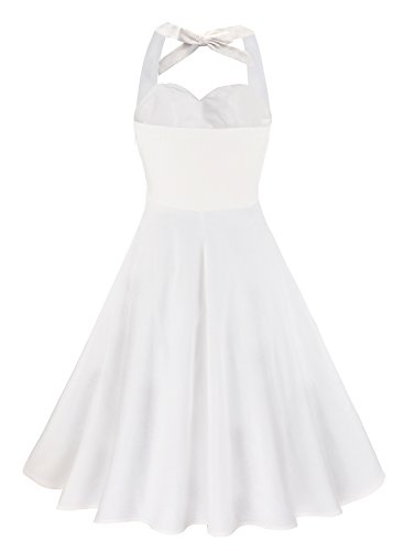 Anni Coco Women's Marilyn Monroe 1950s Vintage Halter Swing Tea Dresses Creamy White Medium