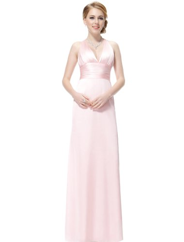 HE09008PK16, Pink, 14US, Ever Pretty V-neck Cross Back Maxi Party Dress 09008