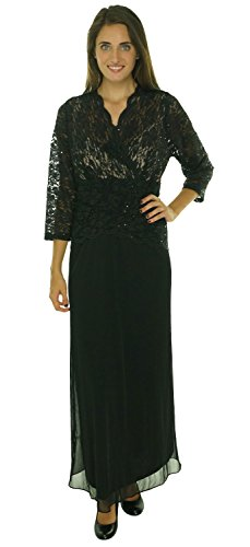 Onyx Nite Glittered Sequined lace Chiffon Peplum Dress Black 16