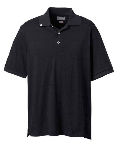 Ashworth 2010 Men's Short Short Sleeve Button EZ-Tech Jersey Stripe Golf Polo Shirt (Black - S)