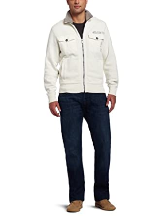 Calvin Klein Jeans Men's Military Fleece Jacket, Pure Ivory, Small