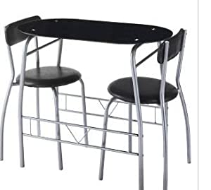 Miami Black Glass Dining Table And 2 Chairs Breakfast Set Ki