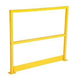 "Vestil SQ-48-TB Square Safety Rigid Handrail with Toeboard, Steel, 48"" Length, 42"" Height"