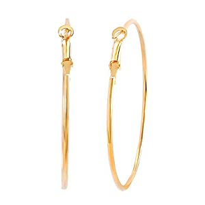 Pugster 18k Gold Plated Simple Round Hoop Earrings