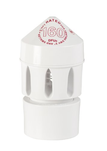 Oatey 39220 2-Inch by 3-Inch Sure-Vent Air Admittance Valve 160 DFU with 2-Inch by 3-Inch PVC Schedule 40 Adapter, White (Pvc Pipe Air Valve compare prices)