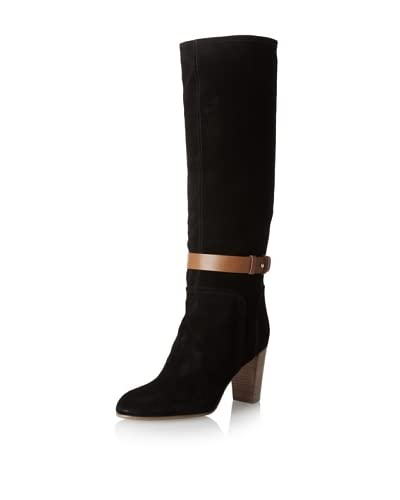 Sergio Rossi Women's Pull-On Buckle Boot  - Blk/Md Brn