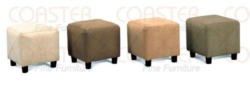 Taupe Square Microfiber Footstool Ottoman