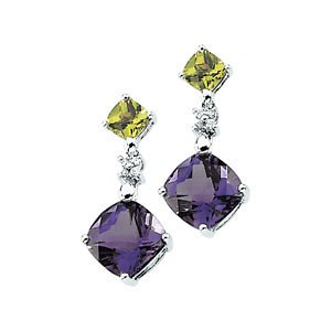 Genuine IceCarats Designer Jewelry Gift 14K White Gold Genuine Amethyst,Genuine Peridot And Diamond Earring. Pair .06 Cttw Genuine Amethyst,Genuine Peridot And Diamond Earrings In 14K White Gold